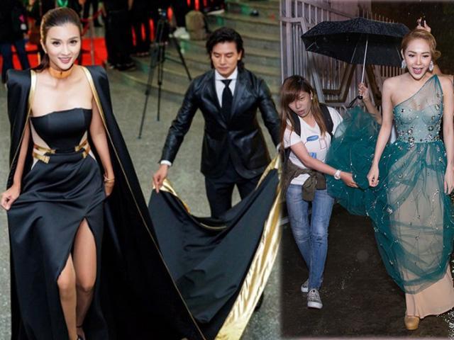 Mê váy vừa dài, vừa nặng, loạt mỹ nhân muốn đi được phải... nhờ cậy nhiều người!