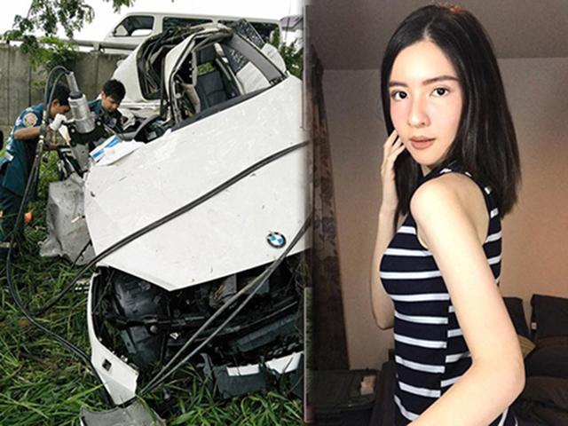 Clip toàn cảnh vụ tai nạn sao nữ Thái Lan 21 tuổi qua đời vì đâm sầm vào cây lớn
