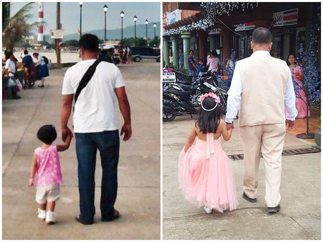 Mẹ chụp hàng trăm bức ảnh bố cùng con gái nắm tay nhau đi khắp thế gian