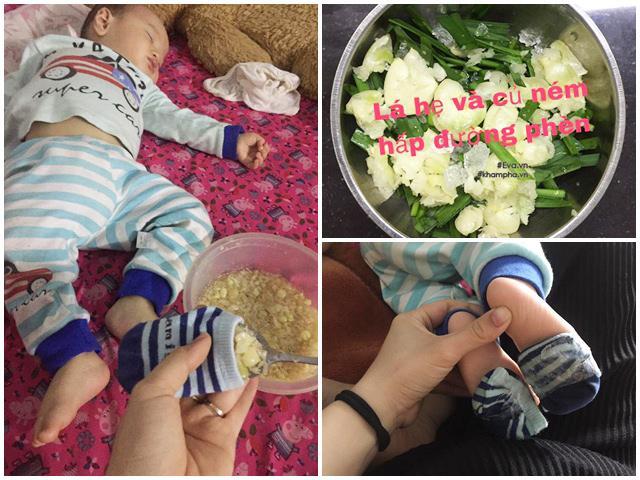 Uống nước lá hẹ, đắp chân bằng hành tăm, mẹ Thái Nguyên trị ho hiệu quả cho con 8 tháng