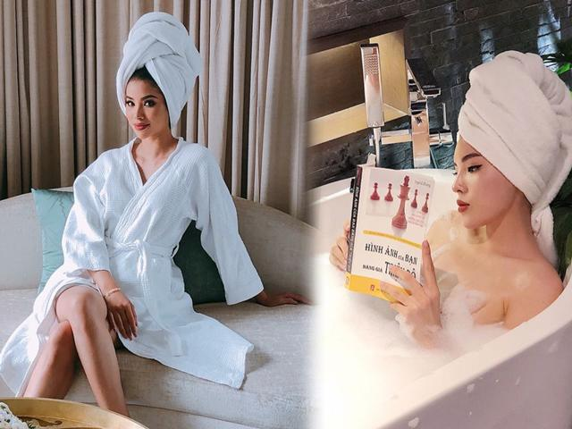 Phạm Hương, Kỳ Duyên hóa quý cô sang chảnh với thời trang... khăn tắm