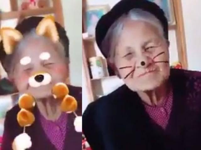 Bất chấp tuổi tác, bà ngoại 90 tuổi tạo dáng xì tin bên cháu gái