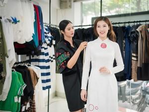 Ngọc Hân tự tay may áo dài cho bạn thân Phí Thị Thuỳ Linh đi thi Hoa hậu