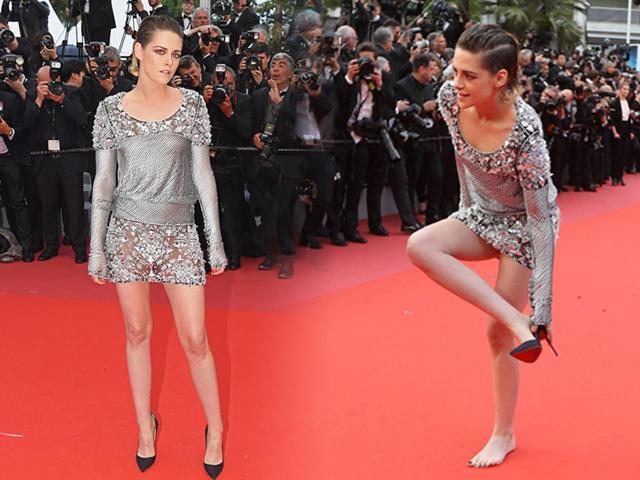 Không ai như Kristen Stewart, vô tư cởi giày đi chân đất trên thảm đỏ Cannes