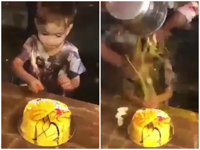 Hào hứng cắt bánh sinh nhật, bé trai bị ném trứng, bôi bánh khắp người