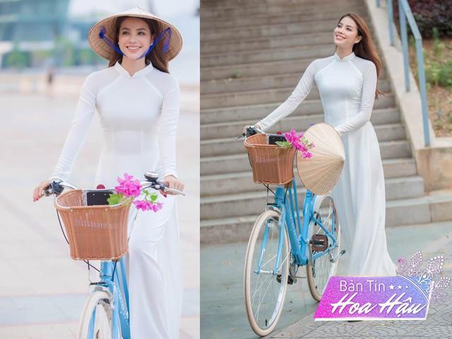 Cô giáoPhạm Hương khoẻ đẹp như giọt sương mai với tà áo dài trắng