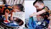 Giúp mẹ giặt quần, cậu bé 3 tuổi giành hết spotlight của mạng xã hội