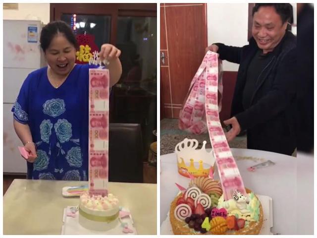 Vừa cắt bánh sinh nhật vừa kéo tiền mãi không hết, chủ nhân sướng rơn, cười không ngậm được mồm