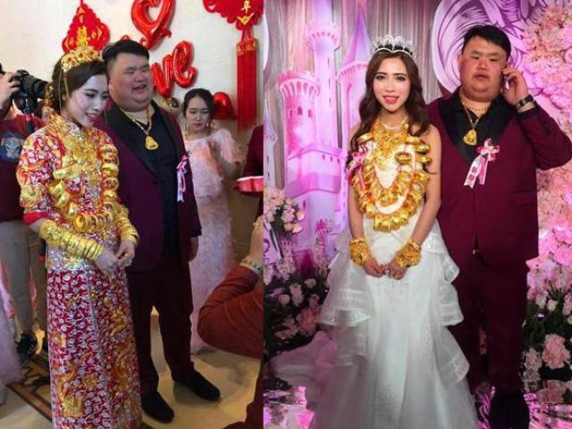 Tin tức 24h: Cô dâu đeo vàng trĩu cổ trong hôn lễ với đại gia xấu trai gây tranh cãi