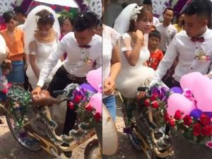 Lâu lắm rồi mới có một đám cưới đón dâu bằng... xe đạp khiến dân mạng thích thú