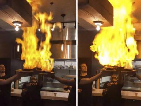 Cười tắt thở với màn múa lửa trên món ăn nhưng không ngờ kích hoạt hệ thống chống cháy