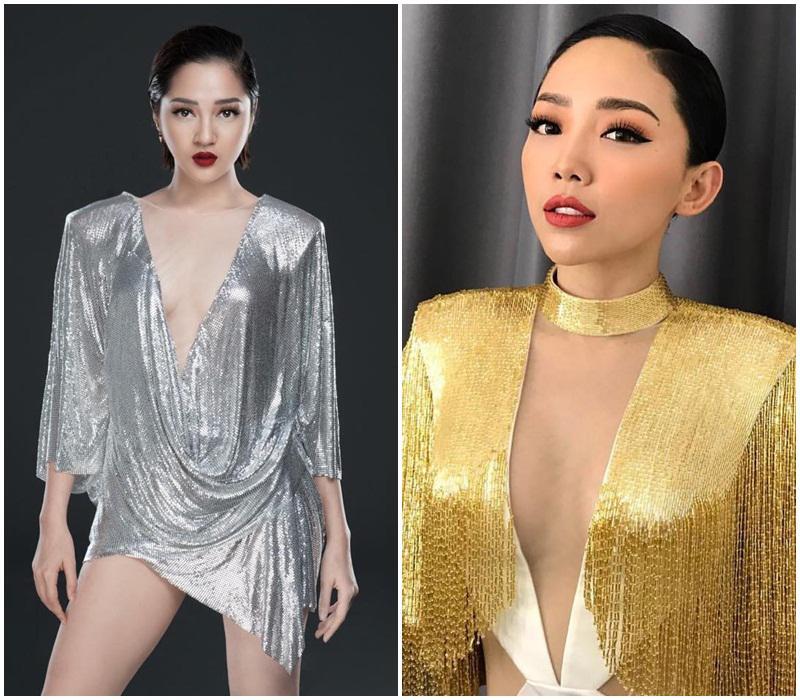 Bảo Anh và Tóc Tiên giống như trong cùng một nhóm nhạc với kiểu váy và make up na ná.