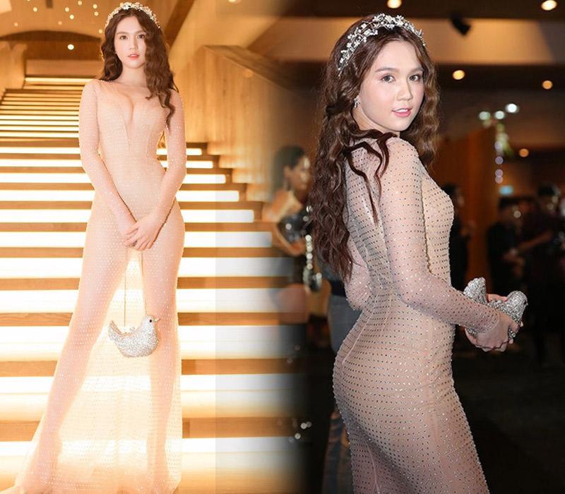 Chiếc váy của Ngọc Trinh trong suốt đến nỗi nhìn từ xa nhiều người tưởng cô không mặc gì.