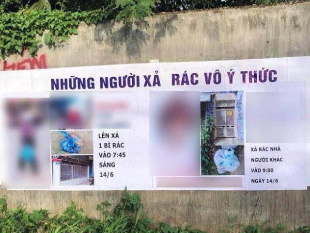 Tấm phông bêu cả họ cả tên lẫn mặt mũi người vứt rác bừa bãi khiến dân mạng tranh cãi