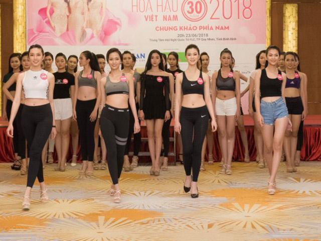 Hoa hậu Việt Nam 2018: Thí sinh khoe eo thon, chân dài miên man khi tập catwalk