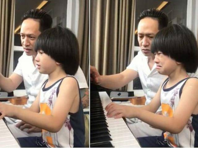 Dạy con chơi đàn: Duy Mạnh cáu tiết, con trai mếu máo, nước mắt ngắn dài