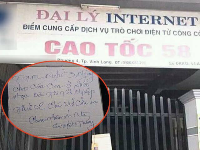 Tấm biển treo trước quán net và dòng thông điệp phía sau khiến ai cũng phải gật gù ủng hộ