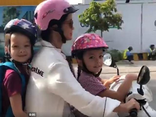 Chia tay chồng Tây, cô Bống Hồng Nhung đèo 2 con đi học bằng xe máy