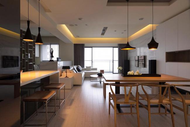 Không gian liên thông phòng bếp - phòng khách - phòng ăn.