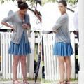 Katie Holmes lộ cặp chân thô trên phim trường
