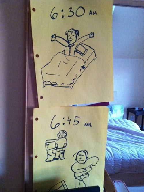 Học mẹ Mỹ tạo bảng nhắc việc con cực hay-1