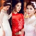 Thời trang - Ngọc Quyên đẹp như trong tranh với áo dài cưới