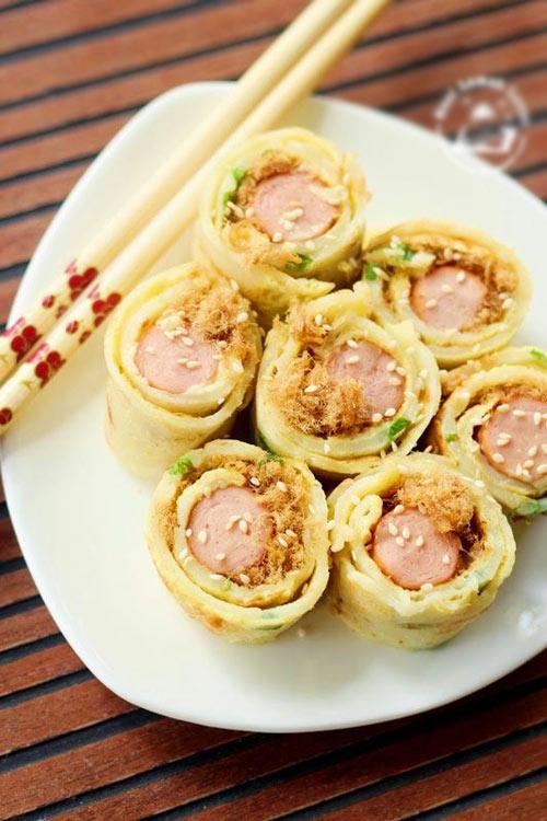 Thưởng thức bánh pancake trứng cuộn xúc xích dễ làm - 6