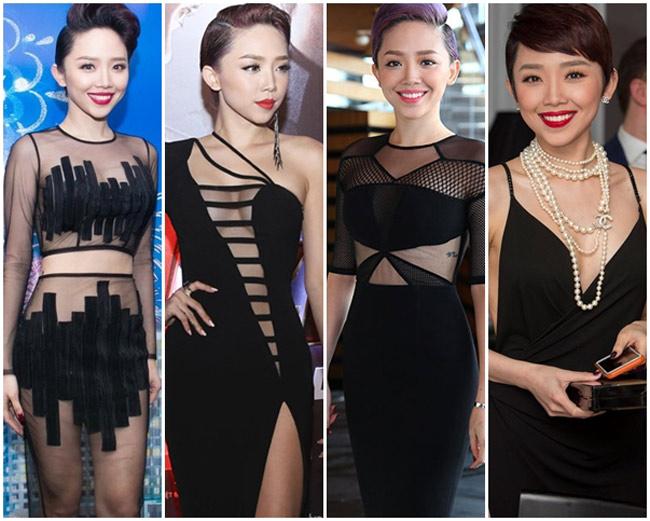 Tóc Tiên là một người đẹp rất thích diện váy màu đen đi dự tiệc. 'Kho' váy đen của cô thường có thiết kế rất táo bạo, mang phong cách như một minh tinh Hollywood.