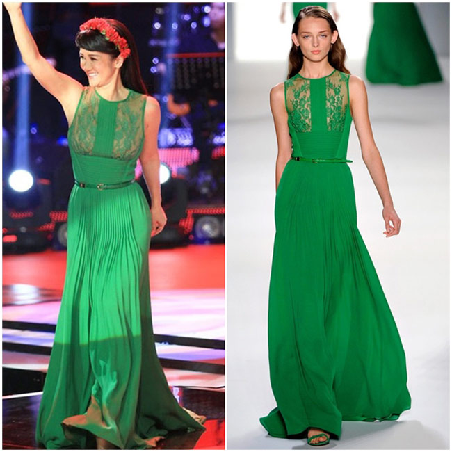 Màu xanh lục bảo thường tạo nên vẻ đẹp sang trọng, đắt tiền và có lẽ vì thế mà rất nhiều nhà thiết kế tên tuổi sử dụng gam màu này cho các sản phẩm đắt đỏ của mình. Chiếc váy của nữ ca sĩ Hồng Nhung nằm trong BST xuân hè 2012 của Ellie Saab, có giá 147 triệu đồng.