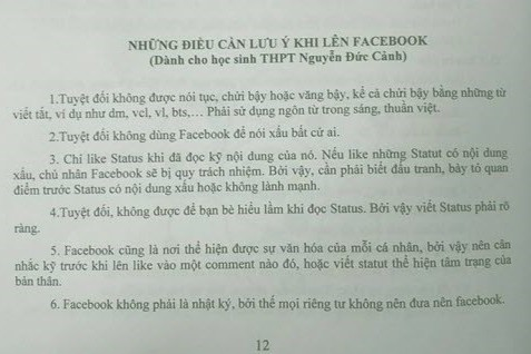 xon xao 'nhung dieu luu y khi len facebook' cua mot truong thpt - 1