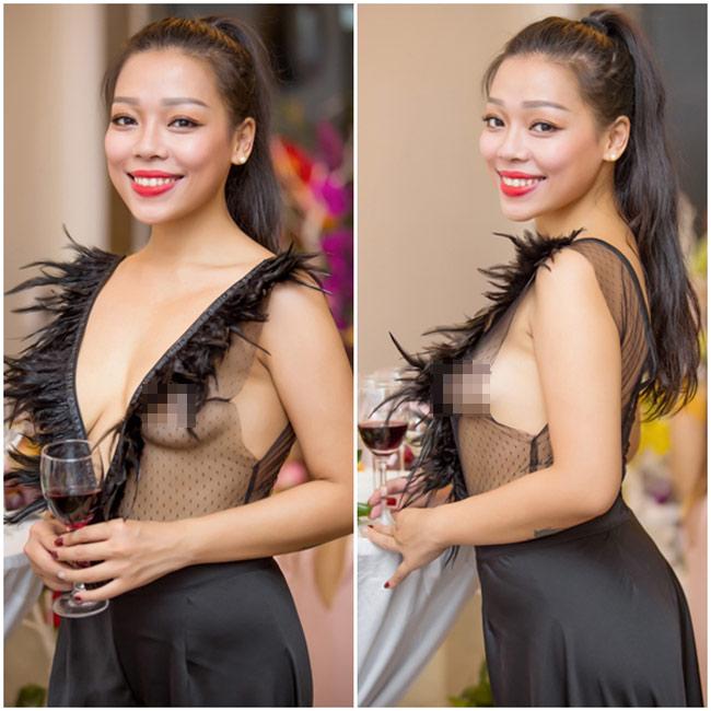 Tại một sự kiện mới đây tại Hà Nội, nữ ca sĩ trở thành tâm điểm của mọi sự chú ý khi xuất hiện với chiếc đầm xuyên thấu, để lộ phần thân trên rất phản cảm.