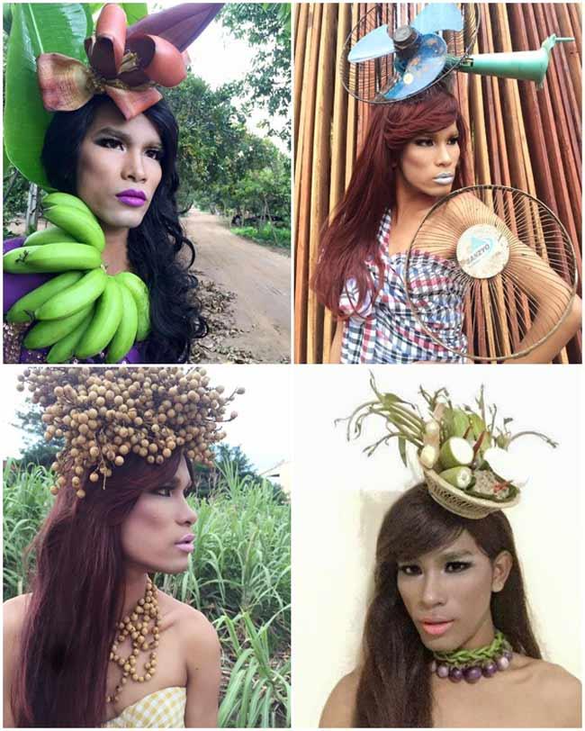 Mới đây nhất, anh chàng Menh Chanvanda, người Campuchia đã gây sốc cư dân mạng với phong cách thời trang vô cùng kỳ quặc, được lấy cảm hứng từ hoa lá, trái cây. Trang facebook của anh chàng này đang có khoảng 26 nghìn lượt theo dõi.