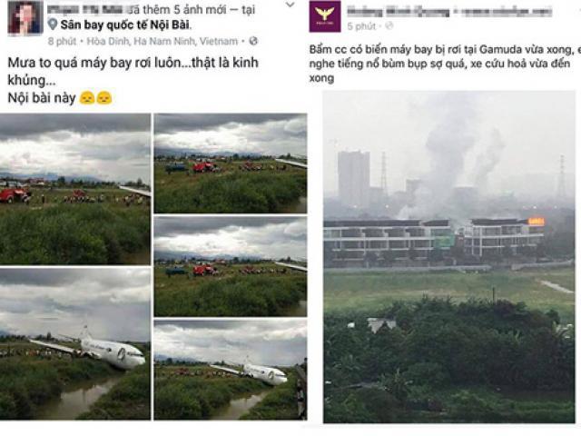 Tung tin máy bay rơi ở Nội Bài để câu like, bán hàng