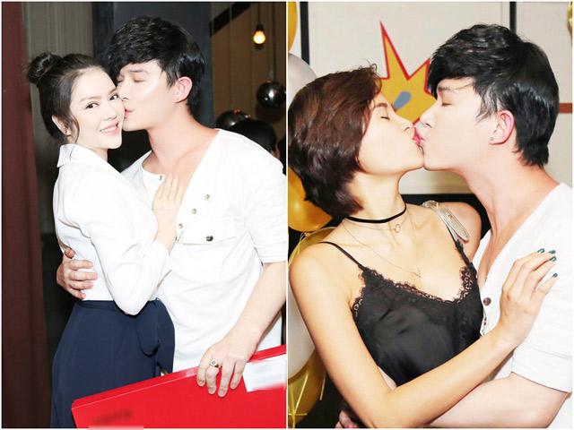 Hết hôn má Lý Nhã Kỳ, Nathan Lee lại chạm môi Phương Mai trong tiệc sinh nhật