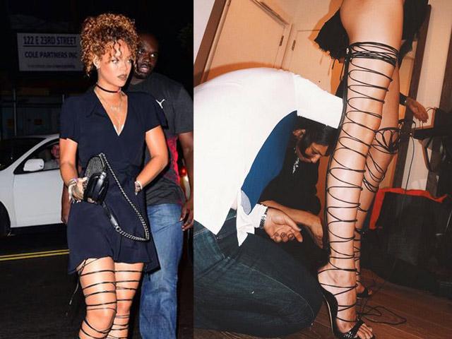 Đôi giày mỗi lần đi là phát khổ phát sở nhưng vì sexy Rihanna vẫn cắn răng chịu đựng