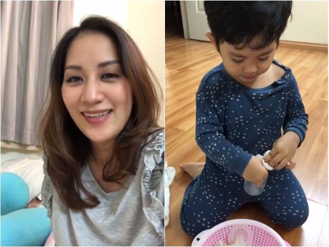 Con trai Khánh Thi chủ động chuẩn bị đồ vắt sữa cho mẹ, đáng yêu khi tập làm anh