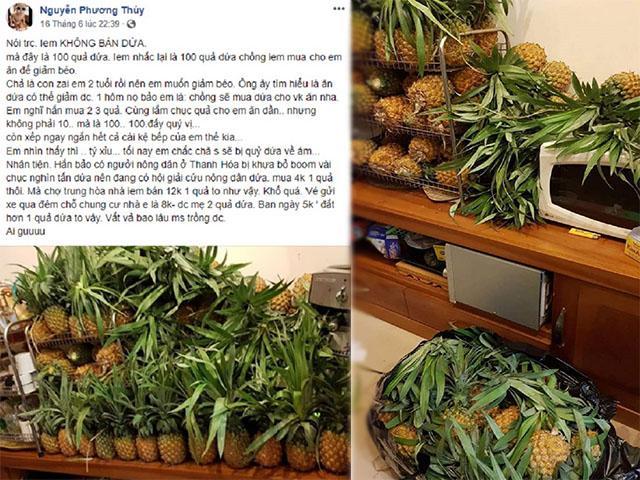 Chồng mua 100 trái dứa nguyện giúp vợ dành cả thanh xuân để giảm cân