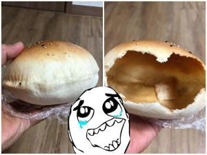Nghe quảng cáo bánh mì đặc ruột, anh chàng khóc khi mở bánh ra, dân mạng rần rần tranh cãi