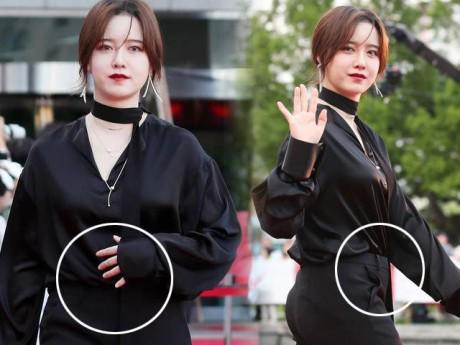 """Mặt sưng, bụng to, vòng 1 tăng, """"Nàng Cỏ"""" Goo Hye Sun khéo lấy tay che bụng giấu bầu?"""