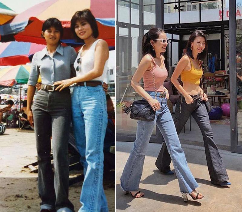 Những chiếc quần jeans ống loe, ống rộng quay trở lại. Các mẹ thì đã mặc từ thập niên 80.