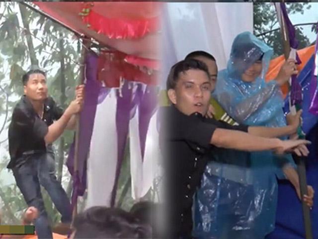 Tổ chức đám cưới đúng lúc bão về, các thanh niên gồng mình giữ rạp dưới mưa