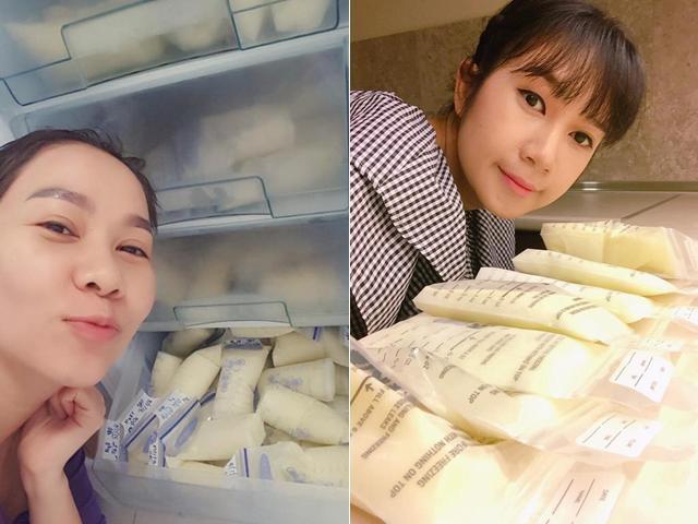 Bận trăm công nghìn việc, mỹ nhân Việt vẫn quyết cho con bú, trữ được cả tủ sữa đầy ắp