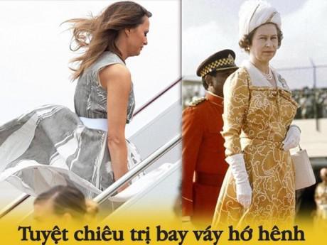 """Tinh tế như phụ nữ Hoàng gia Anh là cùng, """"phòng thủ"""" đến cả sự cố  váy tốc, tóc rối"""