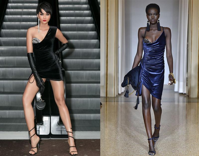 """H'Hen Niê mặc váy của Lưu Ngọc Kim Khánhd, được cho là """"đạo nhái"""" váy của Versace."""