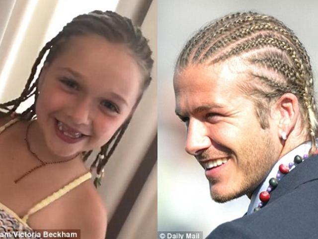 Cha nào con nấy: Harper siêu đáng yêu khi sao chép kiểu tóc huyền thoại của bố Beck
