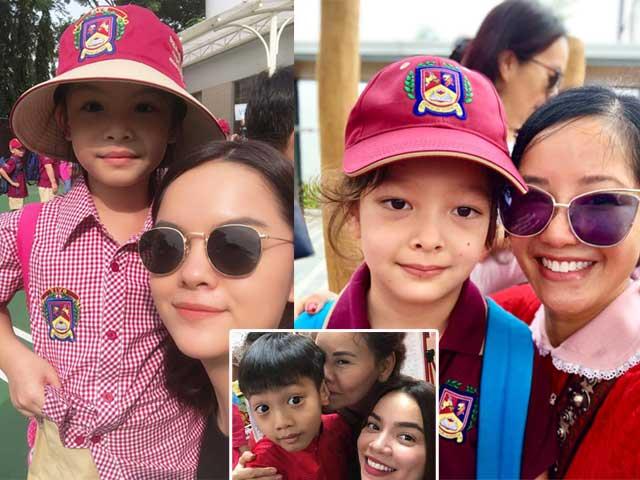 Ngày đầu đi học của con sao Việt: Hồ Ngọc Hà phi xe ôm đưa con tới trường
