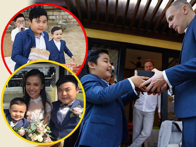 Khoảnh khắc đặc biệt: Con riêng của Lý Thanh Thảo tặng quà, ôm chặt bố dượng trong lễ cưới mẹ