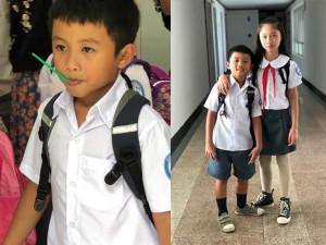 """""""Chết cười"""" ngày đầu đi học của con trai Phạm Anh Khoa: """"Hay thôi con về quê chăn bò"""""""