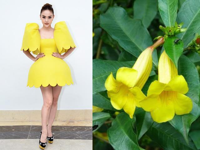 Mặc chiếc váy lạ, Minh Hằng bị ví như...bông hoa dại