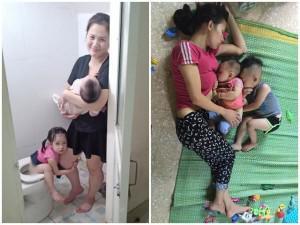 """Nhìn ảnh này mới hiểu cách mẹ bỉm sữa """"một nách 2 con"""" vẫn... cân tất việc nhà"""